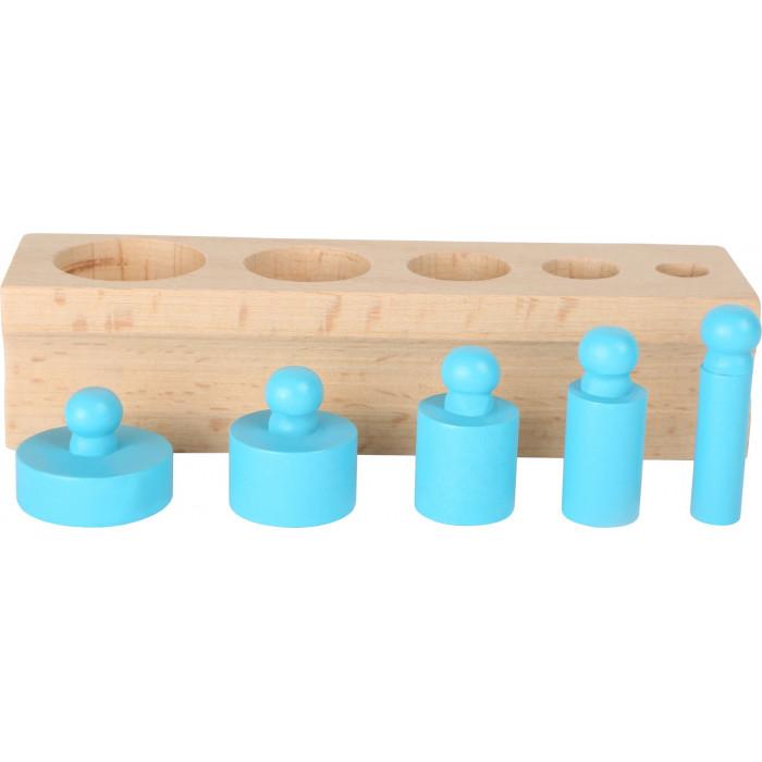 Jouet de motricité en bois sain, cylindres colorés à ranger par ton et  taille