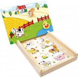 """Puzzle """"ferme"""" en bois avec..."""