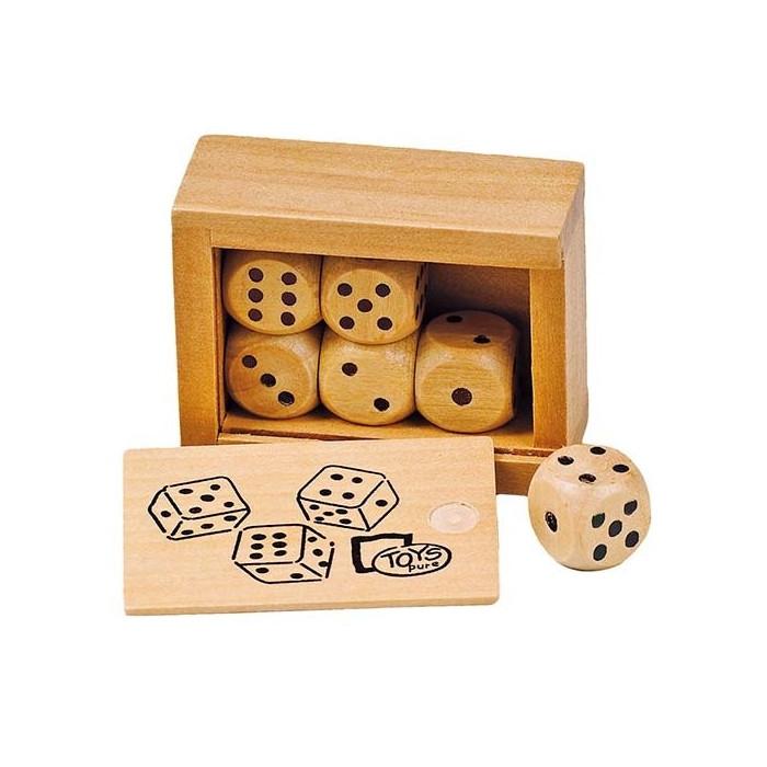 Boîte de 6 dés en bois massif