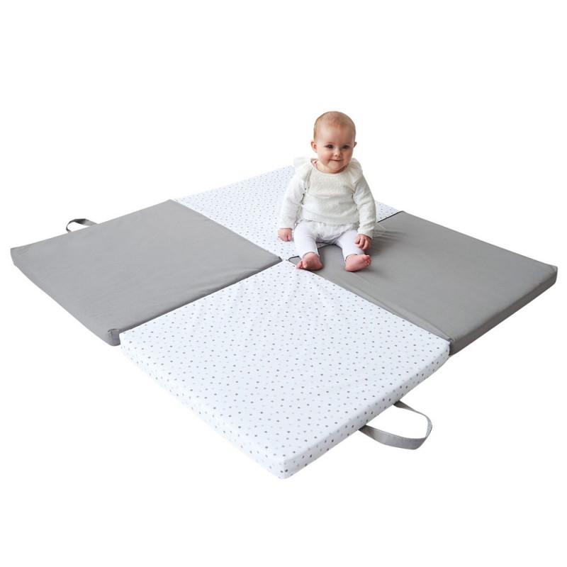 tapis d eveil 120x120 bicolore pliable pratique fabrique en france