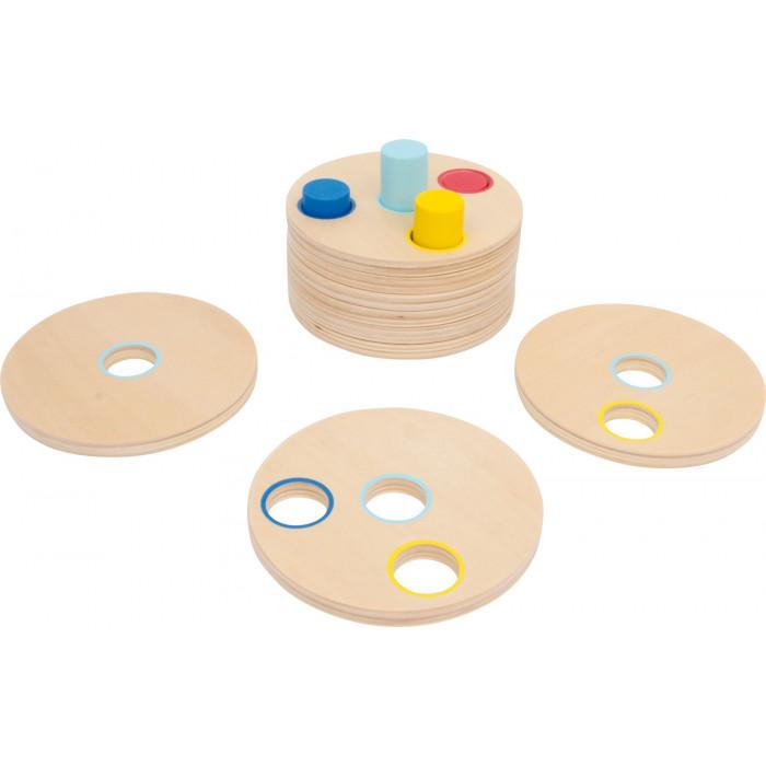 Jeu de précision et de déduction, disques de bois et pignons multicolores
